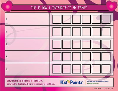 Chore Chart for Children  - Hearts