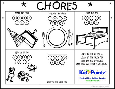 Number Names Worksheets preschool color chart : Chore Chart | Color Your Own | Great for Preschoolers | Kid Pointz