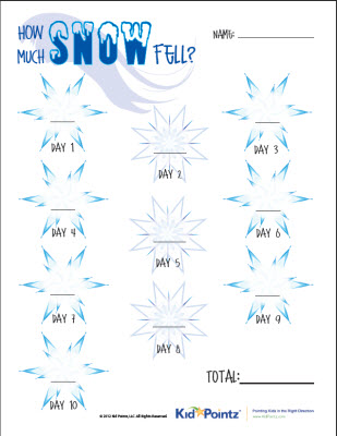 Snowfall Worksheet   Junior Scientists Journals   Kid Pointz