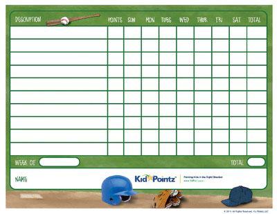 Behavior Chart: Baseball Theme