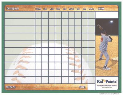 Printable Chart: Baseball Theme