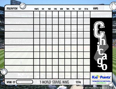 Printable Chart Sports Team Theme Kid Pointz