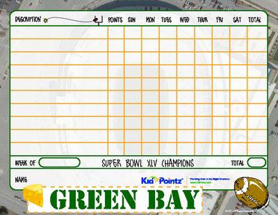 Kids Chart: Green Bay Packers