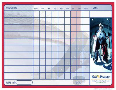 Kids Child Behavior Charts: Hockey Theme