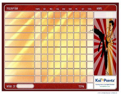 Karate Behavior Chart for Kids