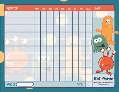 Free Printable Behavior Chart  Monster Theme Kid Pointz