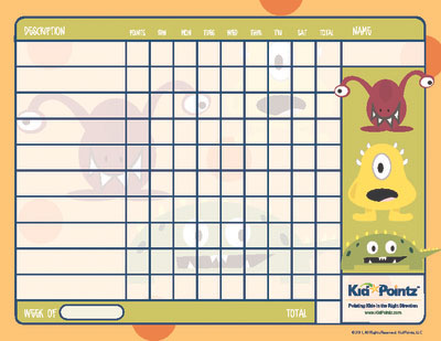 Free Printable Behavior Chart  Monster Theme Kid Pointz