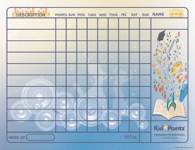 Printable Chart: Music Theme