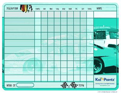 Race Cars Behavior Charts:  Child Behavior