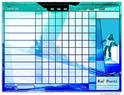Printable Chart: Skiing Theme