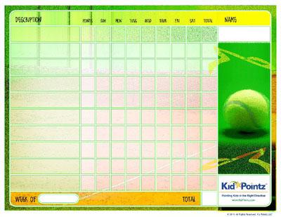 Printable Chart: Tennis Theme