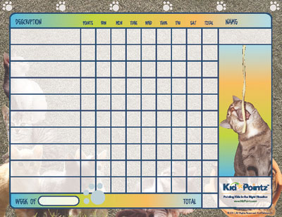 Cat Theme Printable Behavior Chart For Kids
