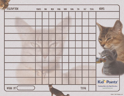 Behavior Chart for Kids: Abyssinians Cat Theme