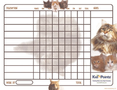 Printable Charts: Maine Coons Cat Theme