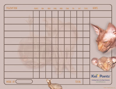 Printable Charts: Sphynx Cat Theme