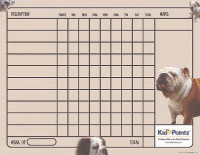 Behavior Charts for Children: Bulldogs Theme