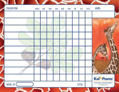 Charts for Kids: Giraffes Theme