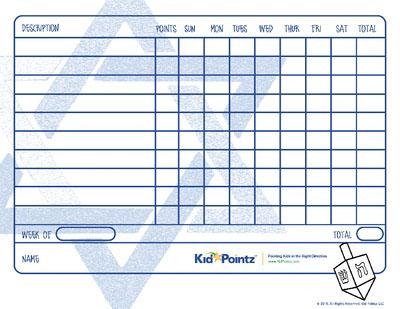 Hanukkah Behavior Chart for Kids