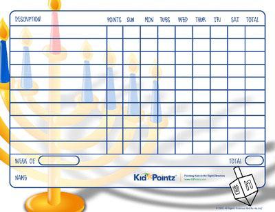 Behavior Chart for Kids on Hanukkah
