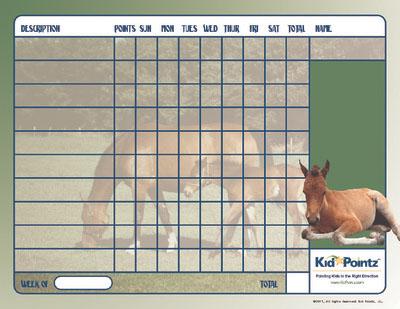 Horses Behavior Chart for Kids