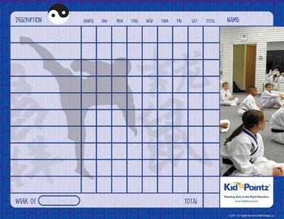 Printable Chart: Karate Theme