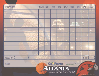 Printable Chart Sports Team Theme Kid Pointz