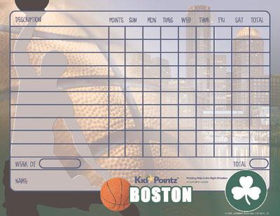 Kids Behavior Chart: Boston Celtics Theme