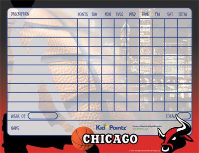 Chicago Bulls Theme Behavior Chart for Kids
