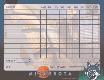 Kids Printable Charts: Minnesota Timberwolves Theme