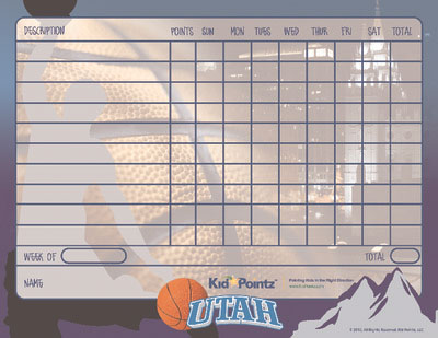 picture relating to Utah Jazz Schedule Printable called Printable Chart Athletics Workers Concept Little one Pointz