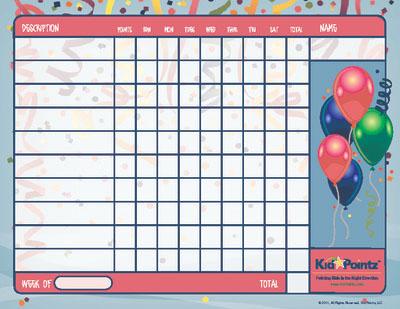 Behavior Chart: New Years Theme