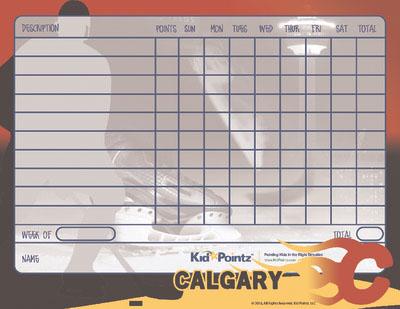 Hockey Theme Behavior Chart: Calgary Flames