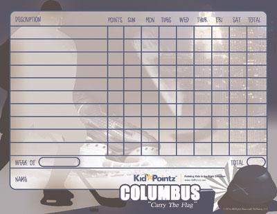 Kid Charts: Columbus Bluejackets Hockey Theme