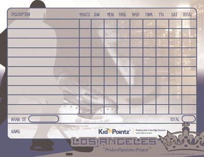 NHL Behavior Chart for Kids: LA Kings
