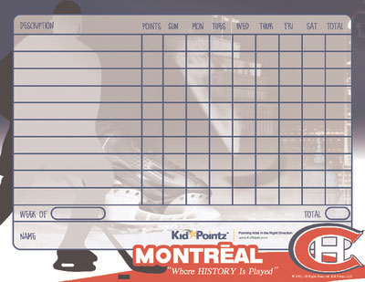 Behavior Chart: Monteal Canadians  Theme