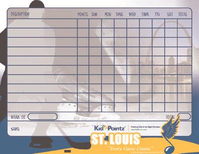 Printable Behavior Chart: St. Louis Blues Theme