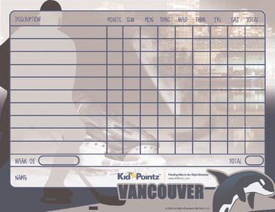 Vancouver Canucks Theme Behavior Chart for Kids