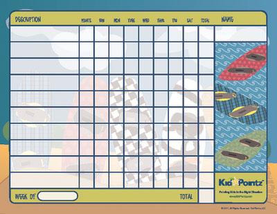 Wakeboard Behavior Chart for Kids