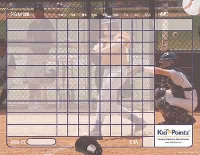 Baseball Behavior Charts:  Child Behavior