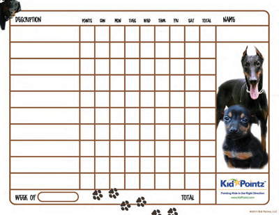 Free Kids Chart: Doberman Pinschers Theme