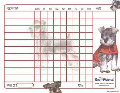 Child Behavior Chart: Miniature Schnauzer Theme