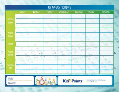image about Children's Routine Charts Free Printable titled Young children Day-to-day Agenda Charts for 7 days Little one Pointz