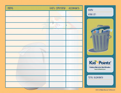 image regarding Printable Allowance Chore Chart referred to as Chore Charts Allowance Boy or girl Pointz