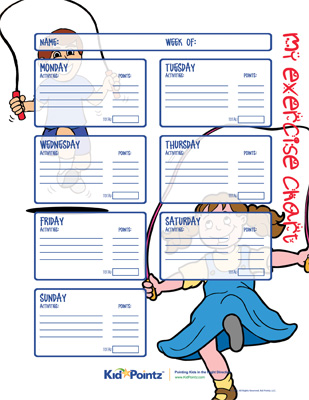 image relating to Printable Exercise Charts called Conditioning Charts Work out Charts for Youngsters Boy or girl Pointz