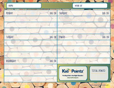 Homework Chart   Kid Pointz